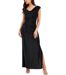 connected petite draped-neck gown