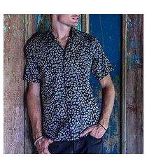 men's cotton batik shirt, 'borneo slate' (indonesia)