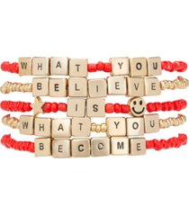 rachel rachel roy gold-tone 5-pc. set believe & become beaded stretch bracelets