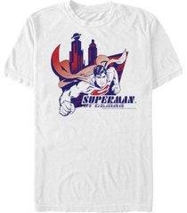 fifth sun dc men's superman flying over the city short sleeve t-shirt