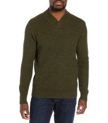 men's schott nyc waffle knit thermal wool blend pullover, size xx-large - green