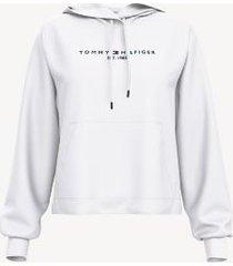 tommy hilfiger women's essential logo hoodie bright white - m