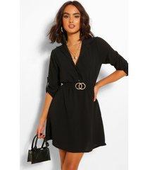 blouse jurk met ceintuur, zwart