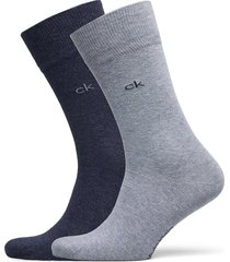 ck men crew 2p casual flat knit cot underwear socks regular socks blå calvin klein