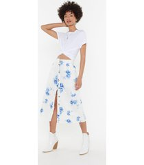 womens get out the fine china midi skirt - white