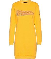 graphic sweat dress knälång klänning gul superdry