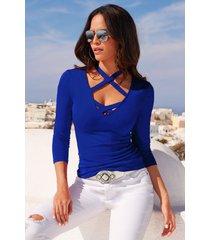 camiseta de manga larga con cuello en v y manga larga para mujer.-azul