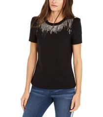 inc sequin-fringe t-shirt, created for macy's