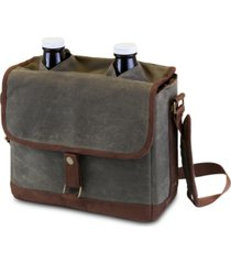 legacy by picnic time insulated double growler tote with 64 oz. glass growlers