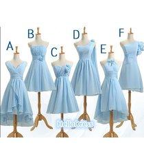 short v neck strapless sweetheart one shoulder halter chiffon bridesmaid dresses