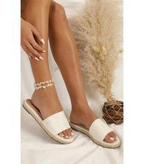 showpo showpo x billini - bali slides in white linen - 6 sale shoes
