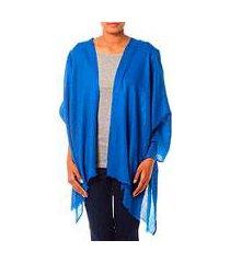 wool shawl, 'kashmiri diamonds in blue' (india)