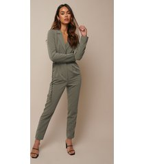 donnaromina x na-kd long sleeve suit jumpsuit - green