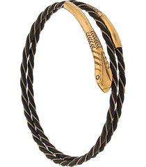 katheleys vintage 18kt gold art deco snake bracelet - gold/black
