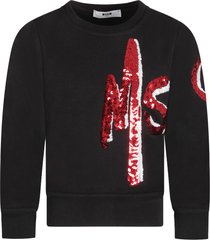 msgm black girl sweatshirt with red and white sequined logo