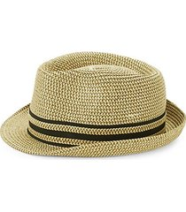 striped patterned fedora hat