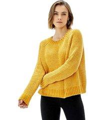 sweater crop chenille mujer mostaza corona