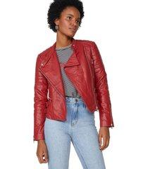 amaro feminino jaqueta couro com fivelas, vermelho