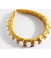 simone satin pearl lined headband - marigold