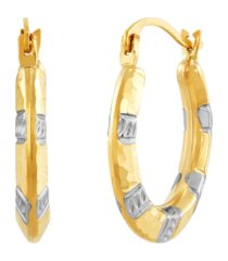 two-tone hammered hoop earrings in 14k gold & rhodium-plate