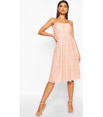 boutique embroidered strappy midi skater dress, blush