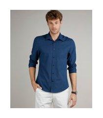camisa masculina comfort fit listrada com bolso manga longa azul marinho