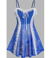 plus size lace frilled sexy cami babydoll with g-string set