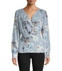 karl lagerfeld paris women's floral long-sleeve top - blue rain - size xs