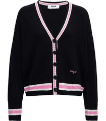 msgm black cardigan in wool and cashmere with contrast profiles