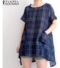 zanzea las mujeres del verano de manga corta camiseta básica de la camisa de la blusa tamaño plus tapa de la túnica -azul