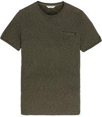 cast iron t-shirt bruin borstzak ronde hals