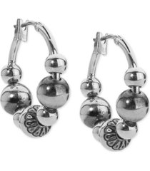 american west beaded hoop earrings in sterling silver