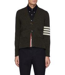 four bar stripe collar tricolour trim shetland wool cardigan