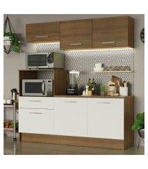 cozinha compacta madesa onix 180001 com armário e balcão rustic/branco cor:rustic/branco
