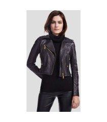 jaqueta de couro vintage perfecto preto - 44