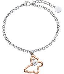 bracciale in acciaio silver con farfalla rosata e strass per donna