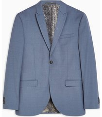 mens blue single breasted slim fit suit blazer with peak lapels