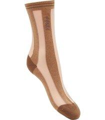 fendi striped logo detail socks - neutrals