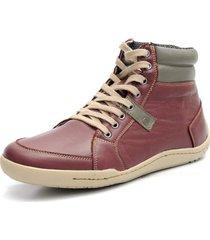 sapatênis shoes grand tamanho grande boston cano médio em couro bordo