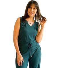 blusa manga sisa con detalle en escote verde pino plica