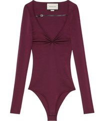gucci v-neck strap bodysuit - purple