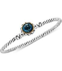 effy balissima blue topaz twist bangle bracelet (3-5/8 ct. t.w.) in sterling silver and 18k gold