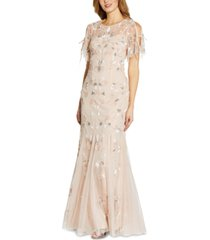 adrianna papell beaded flutter-sleeve gown