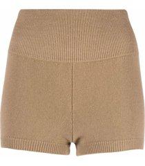 ami amalia paper yarn-merino knitted shorts - brown