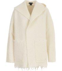 avant toi hooded lamb effect jacket with maxi pockets