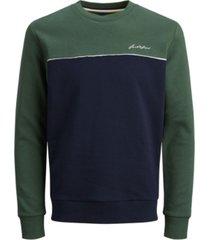jack & jones men's color block long sleeve crew neck sweatshirt