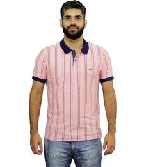 camiseta polo listrada hifen rosa - kanui