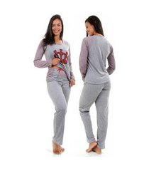 pijama inverno isa lingerie manga longa fechado cinza