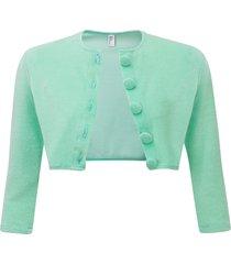 women's lisa marie fernandez crop terry cover-up cardigan, size 1 - blue/green