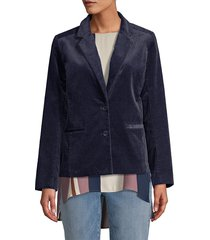 eileen fisher women's notch collar shaped jacket - midnight - size 2